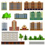 Geplaatste stadshuizen De kleurrijke, vlakke huizen of inzameling van het gebouwenpictogram Royalty-vrije Stock Foto