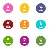 Geplaatste stemmingspictogrammen, vlakke stijl Royalty-vrije Stock Afbeeldingen