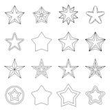 Geplaatste ster de pictogrammen, schetsen ctyle Royalty-vrije Stock Afbeelding