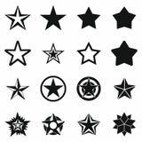 Geplaatste sterpictogrammen, eenvoudige stijl Royalty-vrije Stock Afbeelding