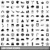 100 geplaatste sterpictogrammen, eenvoudige stijl Stock Foto's