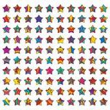 100 geplaatste sterren Stock Foto