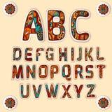 Geplaatste stickers van Zentangle de alfabet gekleurde brieven Royalty-vrije Stock Afbeeldingen