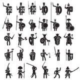 Geplaatste strijderspictogrammen Vector royalty-vrije illustratie