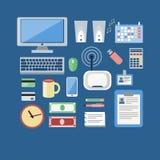 Geplaatste studie, bureau werken en freelance pictogrammen stock illustratie