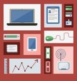 Geplaatste studie, bureau werken en freelance pictogrammen vector illustratie