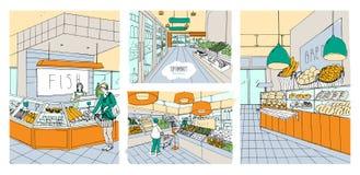 Geplaatste supermarkt binnenlandse hand getrokken kleurrijke illustraties De vissen van de kruidenierswinkelopslag, brood, fruit, vector illustratie