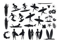 Geplaatste surferssilhouetten mannen en de vrouwen die, berijdende golven, tribune, gang, looppas, zwemmen met surfplanken, de de stock illustratie