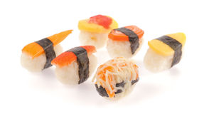 Geplaatste sushibroodjes Stock Afbeeldingen