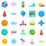Geplaatste systeempictogrammen, beeldverhaalstijl Royalty-vrije Stock Afbeelding
