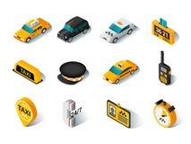 Geplaatste taxi isometrische pictogrammen stock illustratie