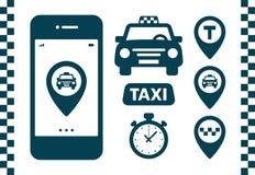 Geplaatste taxipictogrammen Vlakke stijl donkere pictogrammen op witte achtergrond Kaartspeld met taxiauto, controles, kaartspeld stock illustratie