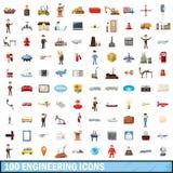 100 geplaatste techniekpictogrammen, beeldverhaalstijl Royalty-vrije Stock Afbeelding
