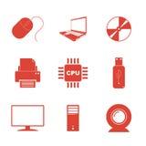 Geplaatste technologiepictogrammen Stock Afbeeldingen