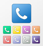 Geplaatste telefoonpictogrammen Stock Foto's