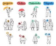 Geplaatste temperamenttypes vector illustratie