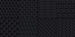 8 geplaatste texturen van volume de realistische kubussen, zwarte geometrische patronen, vectorontwerp donkere achtergronden voor vector illustratie