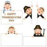 Geplaatste thanksgiving daypelgrim en Banners Stock Foto's