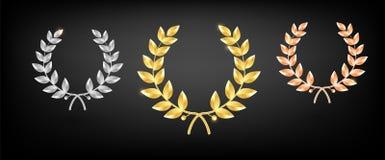 Geplaatste toekenningslaurier - eerst, tweede en derde plaats Winnaarmalplaatje Symbool van overwinning en voltooiing Gouden Laur stock illustratie