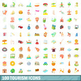 100 geplaatste toerismepictogrammen, beeldverhaalstijl Royalty-vrije Stock Fotografie