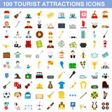 100 geplaatste toeristische attractiepictogrammen, vlakke stijl Royalty-vrije Stock Fotografie