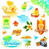 Geplaatste toevlucht, reis en exotische vakantie stock illustratie