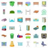 Geplaatste Townypictogrammen, beeldverhaalstijl Stock Afbeeldingen
