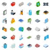 Geplaatste Townypictogrammen, isometrische stijl Stock Fotografie
