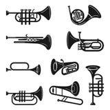 Geplaatste trompetpictogrammen, eenvoudige stijl royalty-vrije illustratie