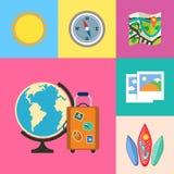 Geplaatste vakantievakantie en reispictogrammen Stock Foto