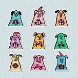 Geplaatste varkensstickers Grappige varkens met suikergoedriet, giften en santahoeden 2019 Chinese Nieuwjaarsymbolen De stijl van vector illustratie