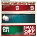 Geplaatste vector: banners voor Kerstmis en Nieuwjaar Royalty-vrije Stock Afbeeldingen