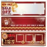 Geplaatste vector: banners voor Kerstmis en Nieuwjaar Royalty-vrije Stock Afbeelding