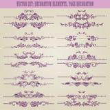 Geplaatste vector: bloemen decoratieve elementen Stock Foto's