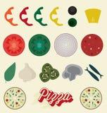 Geplaatste vector: De Inzameling van pizzabovenste laagjes Royalty-vrije Stock Foto