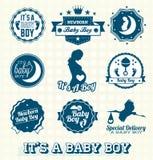 Geplaatste vector: Het is de Etiketten van een Babyjongen stock illustratie