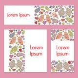 Geplaatste vector: kaarten/banners in romantische stijl Royalty-vrije Stock Foto