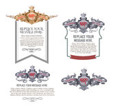 Geplaatste vector: kalligrafische ontwerpelementen en paginadecoratie - l Royalty-vrije Stock Afbeeldingen