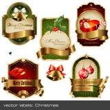 Geplaatste vector: Kerstmis etiketten Royalty-vrije Stock Afbeeldingen