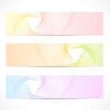 Geplaatste vector: Kleurrijke Banners. Krommepatroon Stock Afbeelding