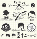 Geplaatste vector: Retro Barber Shop Labels Stock Foto