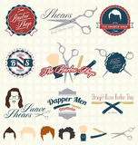 Geplaatste vector: Retro Barber Shop Labels Stock Afbeelding