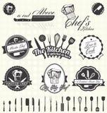 Geplaatste vector: Retro Hoofdchef-kok Labels en Pictogrammen Stock Afbeelding