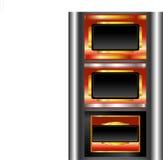 Rode zwarte gouden-ontworpen etiketten stock illustratie