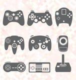 Geplaatste vector: Videospelletjecontrolemechanisme Silhouettes Stock Fotografie