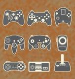 Geplaatste vector: Videospelletjecontrolemechanisme Silhouettes Royalty-vrije Stock Fotografie