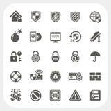 Geplaatste veiligheidspictogrammen Stock Foto