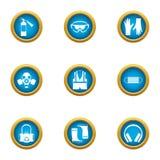 Geplaatste veiligheidspictogrammen, vlakke stijl royalty-vrije illustratie