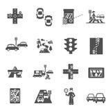 Geplaatste verkeerspictogrammen Royalty-vrije Stock Foto's