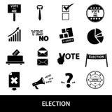 Geplaatste verkiezings zwarte eenvoudige pictogrammen Stock Foto's
